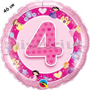 Balão Foil 4 Anos Princesas Rosa