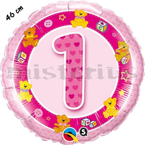 Balão Foil 1 Anos Rosa Ursos