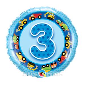 Balão Foil 3 Anos Tratores Azul