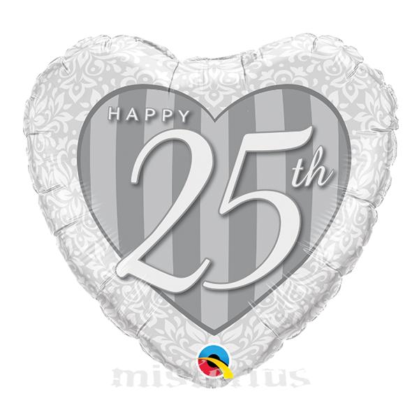Balão Foil Coração Happy 25 Anos