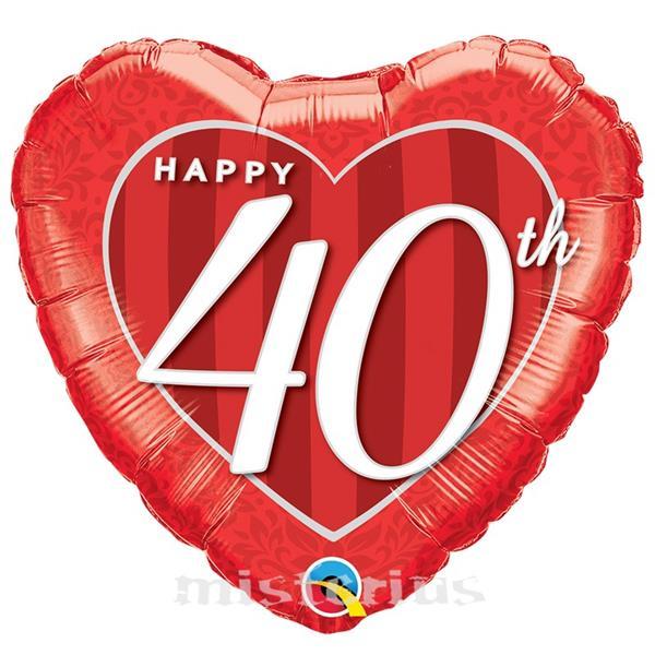 Balão Foil Coração Happy 40 Anos