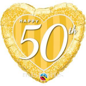 Balão Foil Coração Happy 50 Anos