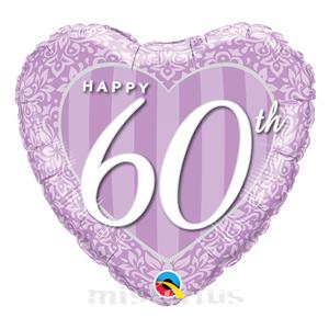 Balão Foil Coração Happy 60 Anos