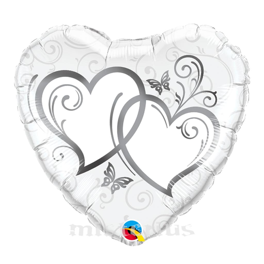 Balao Foil Coração Prateado