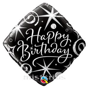 Balão Foil Diamond Happy Birthday Elegant Sparkle