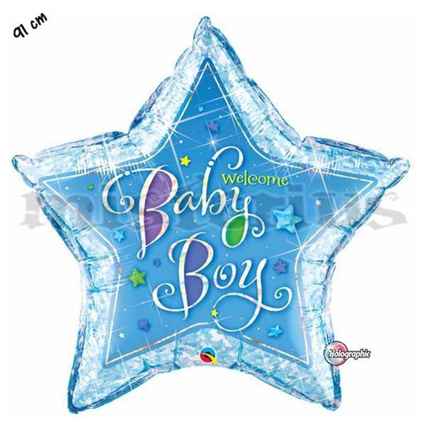 Balão Foil Estrela Welcome Baby Boy
