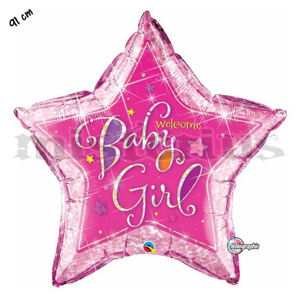Balão Foil Estrela Welcome Baby Girl