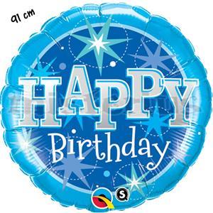 Balão Foil Happy Birthday Azul 91cm
