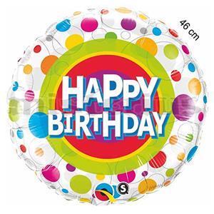 Balao Foil Happy Birthday Bolinhas cores