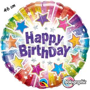 Balao Foil Happy Birthday Estrelas Holog