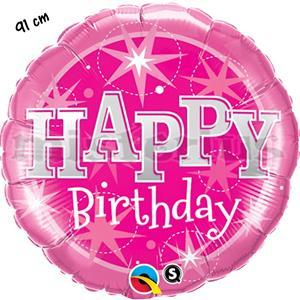 Balão Foil Happy Birthday Rosa 91cm