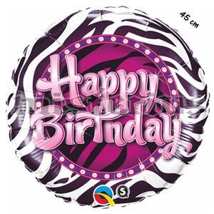 Balao Foil Happy birthday Zebra