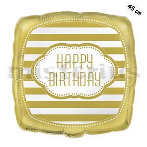 Balão Foil Quadrado Happy Birthday