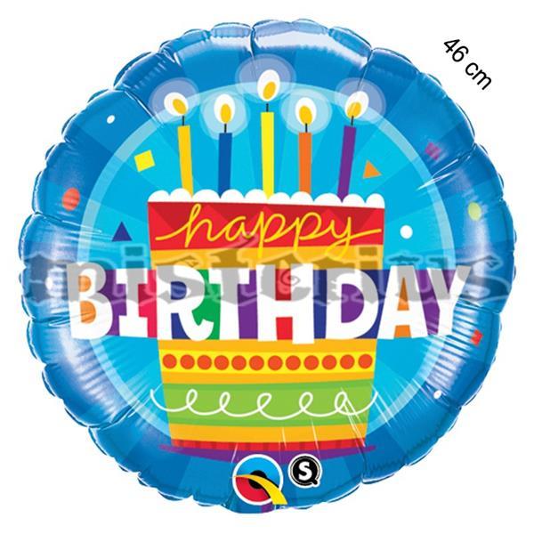 Balao Foil Redondo azul bolo aniversario