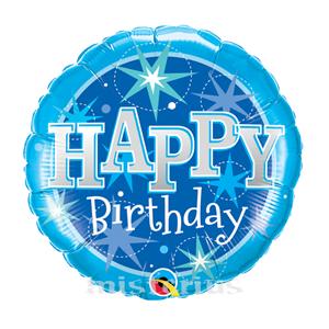Balao Foil redondo happy birthday azul