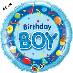 Balão Foil Redondo Happy Birthday Boy Azul