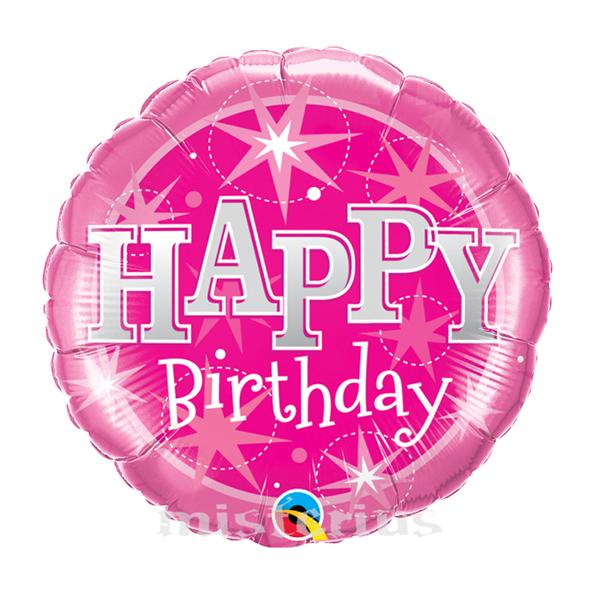 Balao Foil Redondo Happy Birthday Cor de Rosa