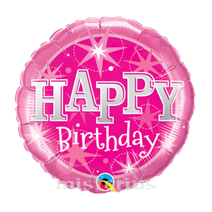 Balao Foil redondo happy birthday Cor de Rosa