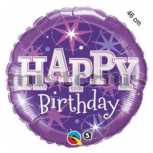 Balao Foil redondo happy birthday lilas