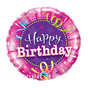 Balão Foil Redondo Happy Birthday Rosa