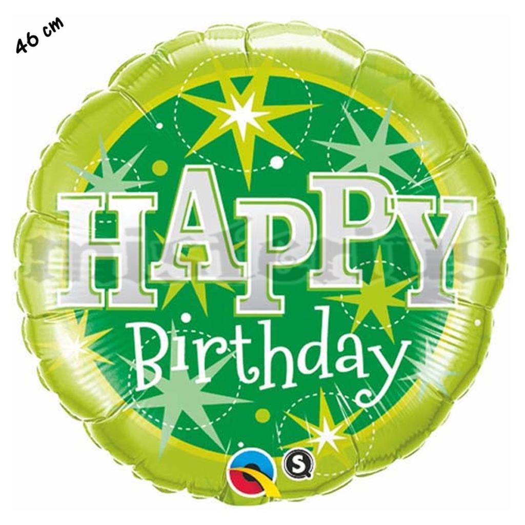 Balão Foil Redondo Happy Birthday Verde