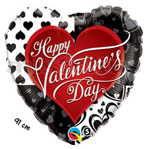 Balão Foil Valentine Black Heart 91 cm