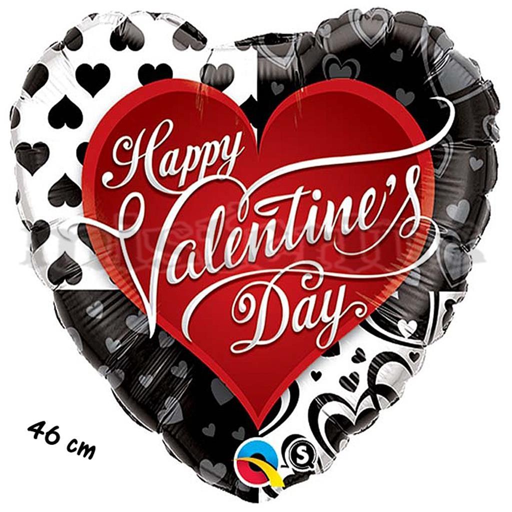 Balão Foil Valentine´s Black Hearts