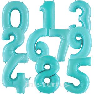 Balão em Forma de Número Azul Claro