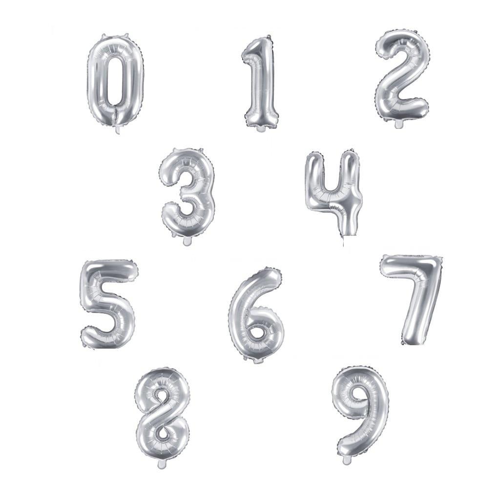 Balão Forma Número Prateado, 35 cm