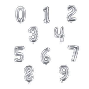 Balão Forma Número Prateado, 40 cm