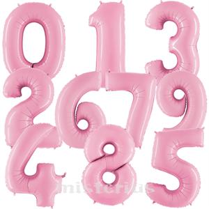Balão em Forma de Número Rosa Bebé