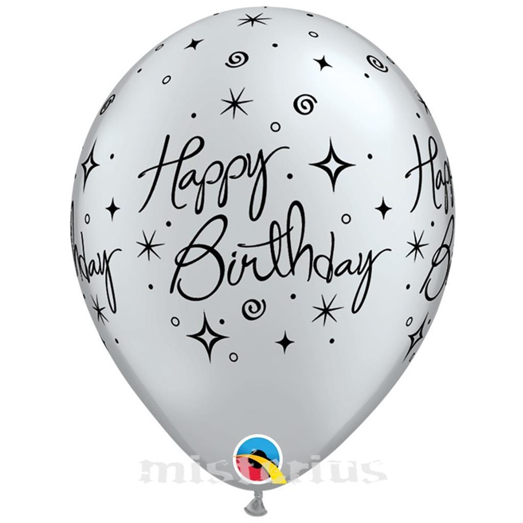 Balao Happy Birthday Prateado Latex,6 unid