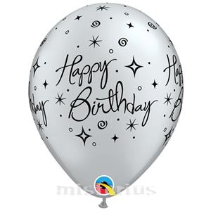 Balao Happy Birthday Prateado Latex,6 unid