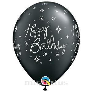 Balao Happy Birthday Preto Latex,6 unid