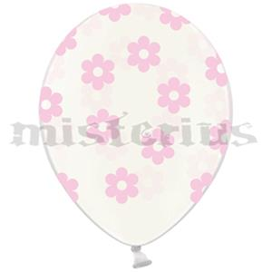 Balão Latex Crystal Flores Rosa, 6 Unid.