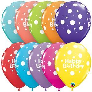 Balao Latex Happy Birthday Bolinhas 6 Unid.