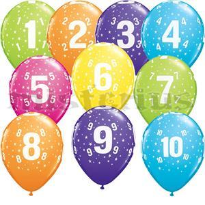 Balão Latex Números Estrelas Multicor, 6 Unid.