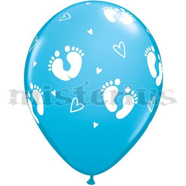 Balão Latex Pézinhos Azul 6 Unid.