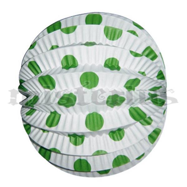 Balão Papel Branco Bolas Verdes