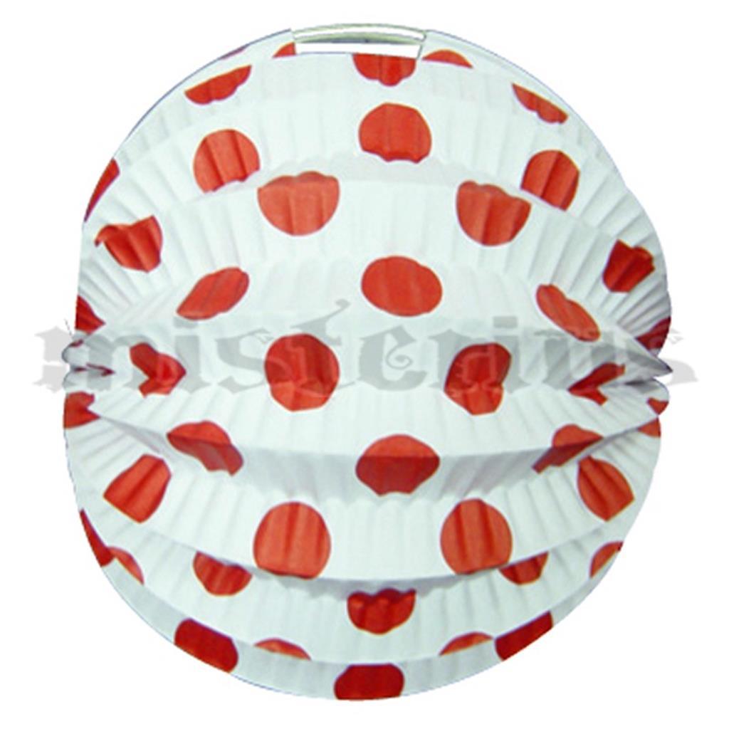 Balão Papel Branco Bolas Vermelhas