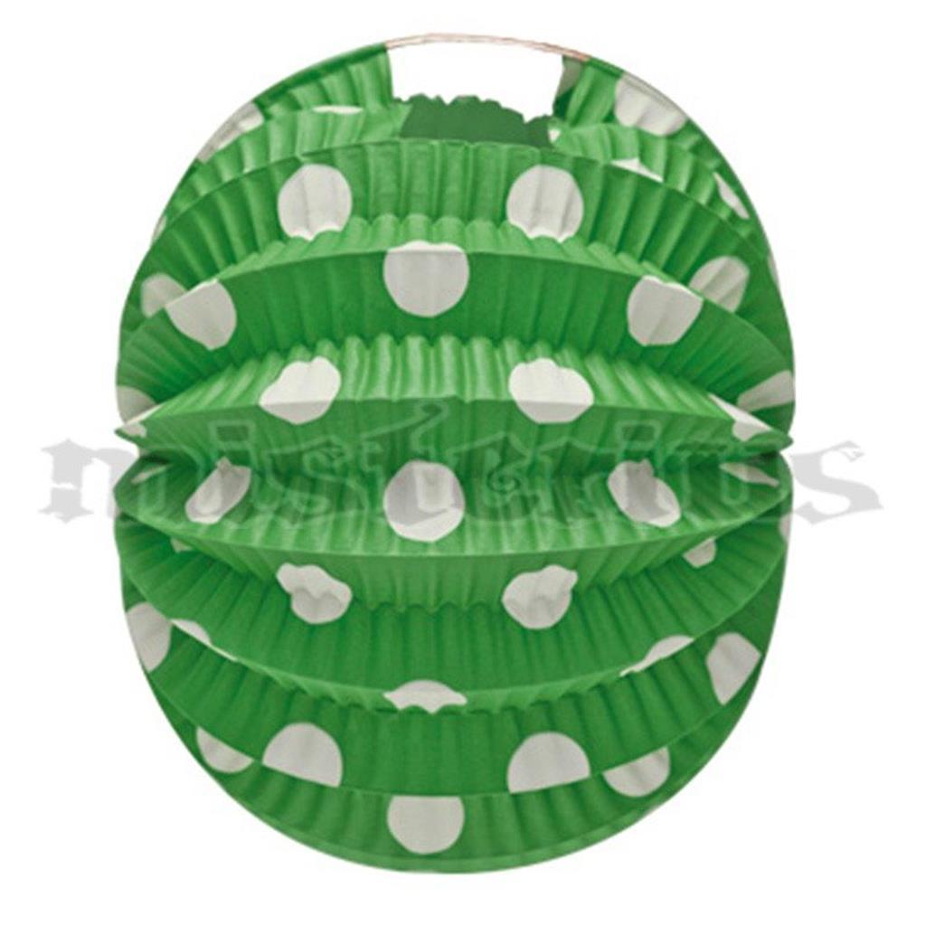 Balão Papel Verde Bolas Brancas