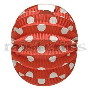 Balão Papel Vermelho Bolas Brancas