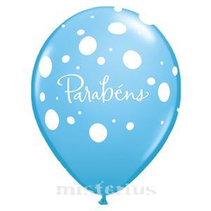 Balão Parabéns Latex Azul Un.