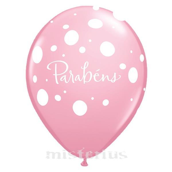 Balão Parabéns Latex Rosa un.