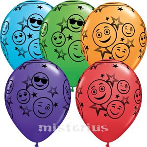 Balão Smiley Colorido, 5 Unid.