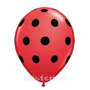 Balão Vermelho Bolinhas Pretas, 8 un