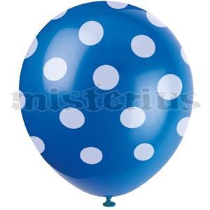 Balões Azuis Bolinhas, 6 unid.