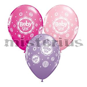 Balões Baby Girl Dots Latex 6unid