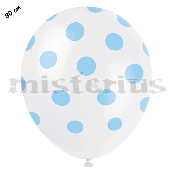 Balões Brancos com Bolinhas Azuis, 8unid