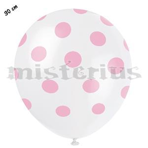 Balões Brancos com Bolinhas Rosa, 8unid